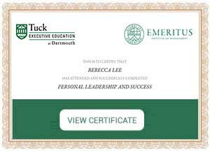 PERSONAL LEADERSHIP AND SUCCESS - Certificate