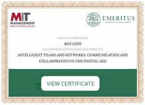 INTELLIGENT TEAMS AND NETWORKS - Certificate