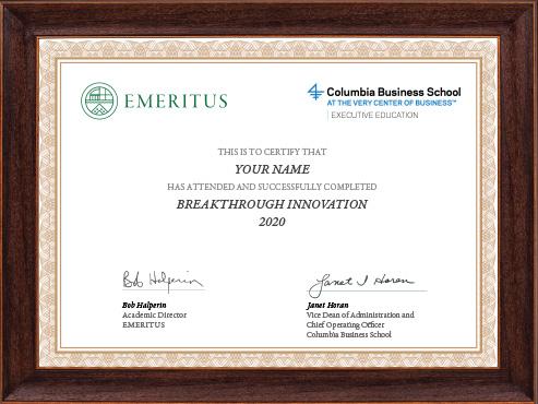 Breakthrough Innovation - Certificate