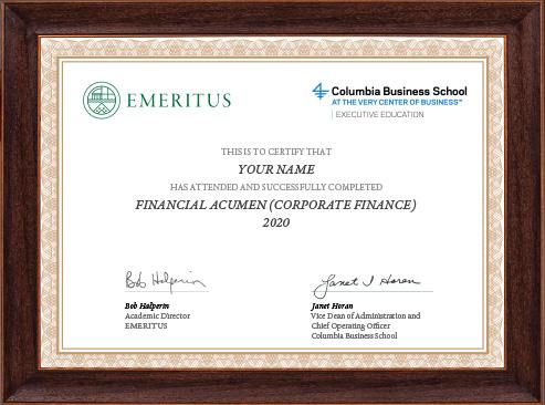 Financial Acumen (Corporate Finance) - Certificate