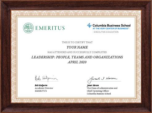 Leadership: People, Teams and Organizations - Certificate