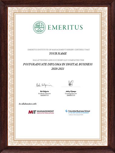 Postgraduate Diploma in Digital Business - Certificate