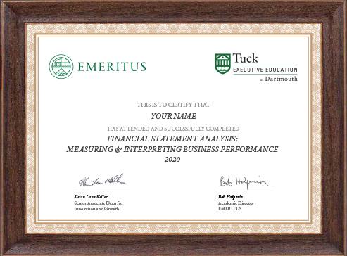 Financial Statement Analysis: Measuring & Interpreting Business Performance - Certificate