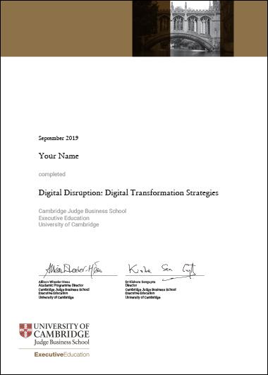 Digital Disruption: Digital Transformation Strategy - Certificate