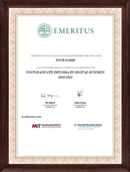 Postgraduate Diploma in Digital Business Certificate